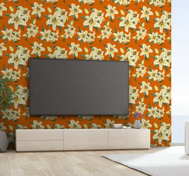 This magnificent nature wallpaper with a pattern of yellow lilies on an orange background will look spectacular in your living room or dining room.