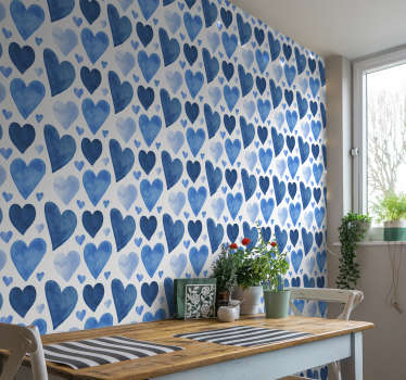 Creative abstract wallpaper with a pattern of hearts in various shades of blue and of different sizes in a watercolor style!