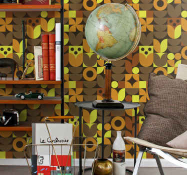 Bring the feel and touch of vintage on your space with this abstract 70s retro wallpaper. It is easy to apply and manufactured with top quality vinyl.
