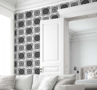 Ornamental wallpaper composed by a mosaic pattern with ornamental figures that alternate between white and black colors. Ideal for living rooms.