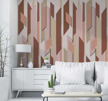 Dekorieren Sie Ihr Zuhause im Vintage-Stil mit dieser wunderschönen abstrakten Tapete mit Stücken in verschiedenen Rottönen auf beigem Hintergrund.
