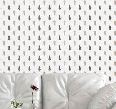 Papel pared hojas que presenta un patrón de hojas en marrón claro y oscuro. Las hojas están sobre un fondo blanco ¡Envío a domicilio!