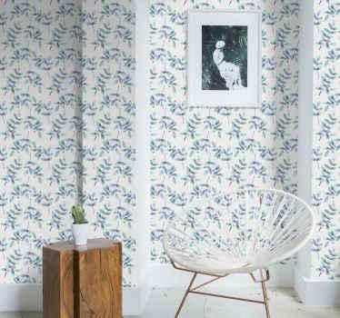 具有白色背景和蓝色花朵的花卉墙纸非常适合以明亮宽敞的方式装饰您要装饰的任何房间。