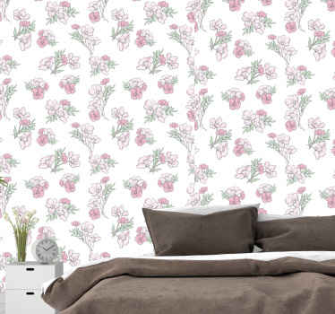 Flower wallpaper which features a pattern of bunches of flowers coloured in shades of pink. Easy to apply. High quality.