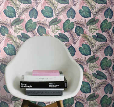 Folha de papel de parede que apresenta um padrão de lindas folhas tropicais coloridas em tons de rosa e verde. Fácil de aplicar.