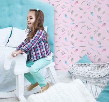 Papel de parede floral que consiste em um lindo padrão de flores e penas coloridas em tons de cinza, azul e rosa.