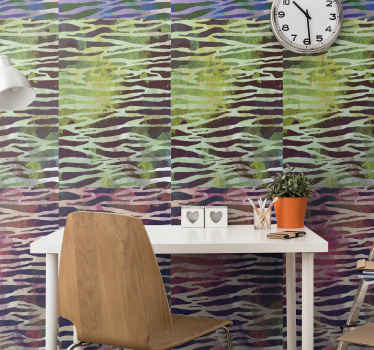 Zebra print wallpaper which consists of a lovely zebra print pattern which is coloured in shades of purple, green, blue and white.