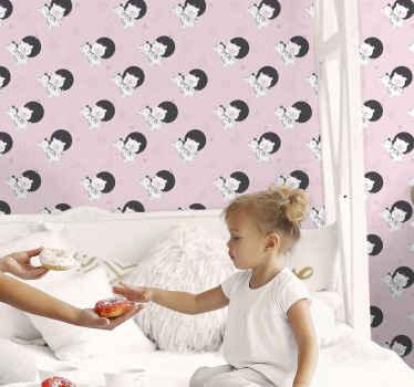 Papier peint animal qui présente un sticker de zèbres et d'ours entourés d'étoiles et de couronnes. Disponible en différentes tailles.