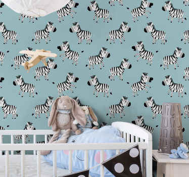 Zebra wallpaper which features a pattern of cartoon zebras all facing in different directions. +10,000 satisfied customers.