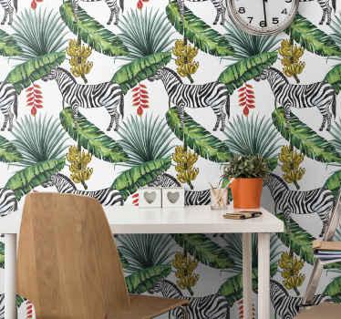 Papel pared animal de la selva que presenta un patrón con imágenes de cebras, hojas de la selva y plantas de banano ¡Material de alta calidad!