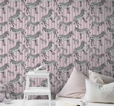 家や他のスペースの装飾のための装飾的なヴィンテージゼブライラスト動物の壁紙。耐久性があり、オリジナルで、取り付けと取り外しが簡単です。