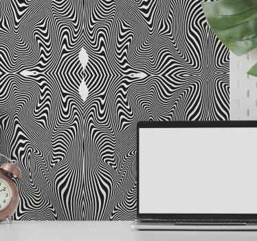 Papier peint à motifs 3d hébergeant un effet de sticker zébré noir et blanc. Joli papier peint zèbre effet 3d pour transformer n'importe quel mur d'une maison.