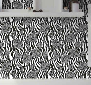 ¿Qué puede ser mejor que este tranquilo y relajante estampado de cebra en blanco y negro en papel pintado flores para decorar una habitación?