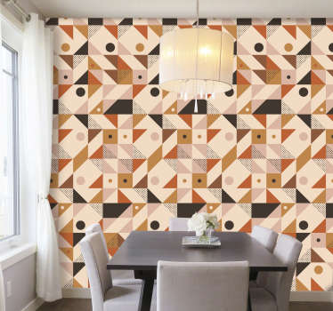 Make your home's decor more modern and fill it with originality with this wonderful modern vinyl wallpaper with a colorful pattern.