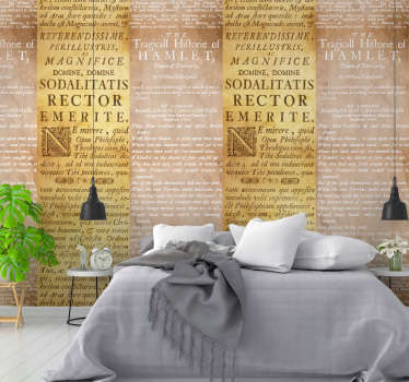 Make your room super original and irreverent with this spectacular yellow concrete vinyl wallpaper with excerpts from books.