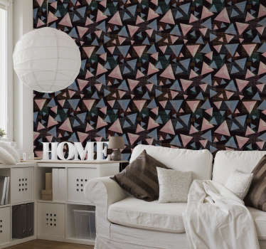 Superb modern wallpaper with a pattern composed of multiple pink and blue triangles of various sizes overlaid on a black background.