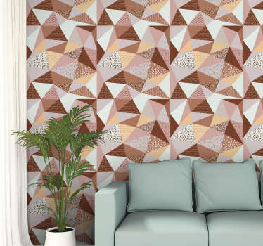 Give a fresh air to your house by decorating it in a very original way with this amazing geometric triangle wallpaper filled with different colors.