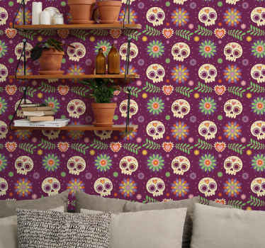 Bedroom aztec skulls art wallpaper - Also perfect for any other spaces and for living room! it design consist of various skulls with flower patterns.
