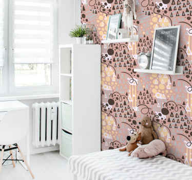 An incredible kids bedroom wallpaper with illustrative design of geometric figures and drawings. Made of high quality material and durable.