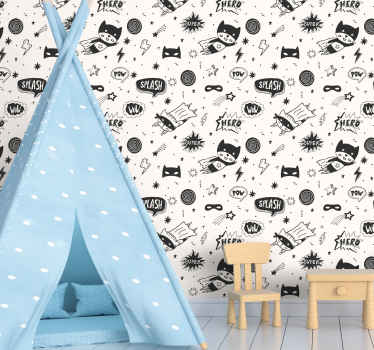 Perfect children bedroom wallpaper with designs displaying different comic figures. On the wallpaper are illustrations of superheroes.