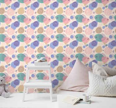 Zamotajte zidni prostor spavaće sobe malenog djeteta u kući ovom fantastičnom pozadinom ružičaste pozadine s mrljastim ilustracijama.