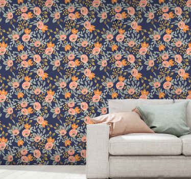 Blue background with pink roses wallpaper. Perfect for a living room, office, lounge, guest room, and bedroom space. Easy to apply and durable.