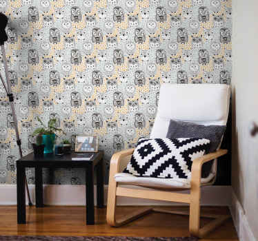Animal wallpaper with illustration of many owls with white and gray background that will give an original, exclusive and unique touch to your home.