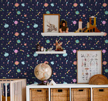 Room wallpaper with a galaxy design, blue background and many planets, stars and moon of many colors that will fill your home of joy.