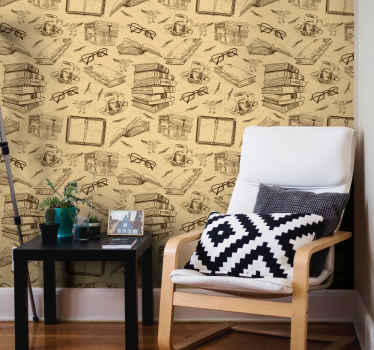 Vintage style wallpaper roll hosting design of old books, reading glasses, coffee cup on table, etc. A design depicting study office in the old time.