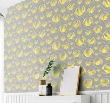 Retro sun dessine un stickers papier peint gris jaune Dans notre collection de design de stickers papier peint. Fabriqué avec des matériaux de qualité