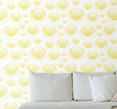 Best quality wallpaper with retro sun and abstract circles design. Nice for a living room, bedroom and any other space you would prefer.