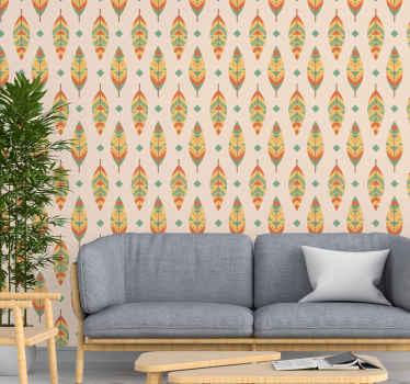 Papier peint vintage avec l'illustration de plumes multicolores vintage que vous pouvez appliquer n'importe où dans votre maison