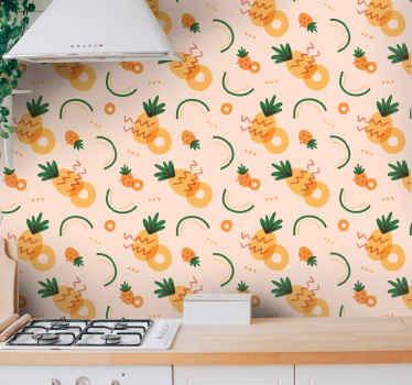 Mejore el aspecto de cualquier lugar con una apariencia brillante con este papel pared cocina de piña, ¿qué está esperando para pedirlo ahora?