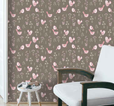 Brown background bedroom 3D wallpaper containing design of various birds with  flowers. Also nice for hallways, living room, office and other spaces.