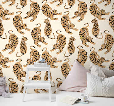 Looking for an animal wallpaper for children room?. Then you should purchase this wallpaper with different tigers positioned in different styles.