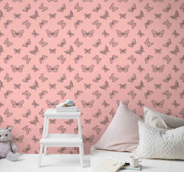 Create a warm, cute and friendly atmosphere with this pretty pink background with little butterflies wallpaper on your baby room and for other space.