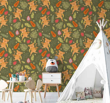 An animal wallpaper with different monkey drawing playing in the the jungle. The product is original, durable and easy to apply on the wall.