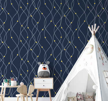 Yellow stars on blue background wallpaper that can be decorated on children bedroom wall.  The product is made with quality material, and durable.