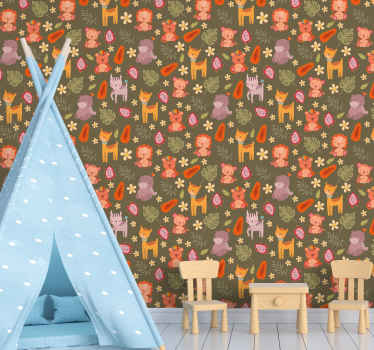 Cute animal pattern wallpaper for children room decoration. The design consist of different forest animals in cartoon style with leaves and fruits.