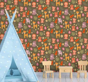 Carta da parati con motivo animale carino per la decorazione della stanza dei bambini. Consiste in animali della foresta in stile cartone animato.