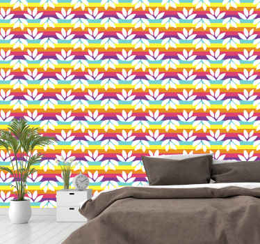 Colorful and brilliant looking bedroom wallpaper consisting of rainbow with white leaves. The product is manufactured with quality material.