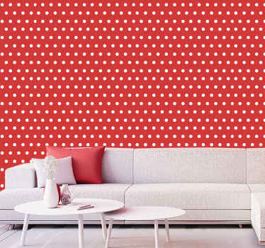 Improve the look on any space with a popping brilliant appearance with this  red modern 3D luxury wallpaper with spotty white dots.