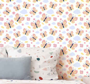 Change the face of any space in your house with this colorful butterflies on white background wallpaper. Made of quality material and highly durable.