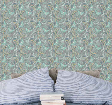 Take a second look at this calm luxurious green and blue tone butterflies wallpaper and you would know why you should get it for your home.