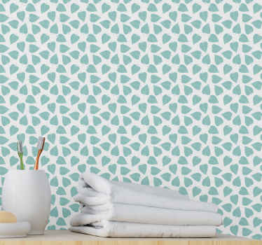 Cool and cozy looking bathroom wallpaper with various green palm leaves printed on it background. It is original, rumple and water proof