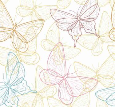 Papier peint papillon multicolore à motifs pour décorer une chambre, un couloir, une salle de bain, des toilettes et tout autre espace de la maison.