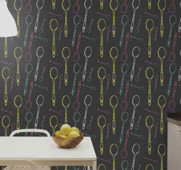 high quality manufactured coloured spoons drawing  patten wallpaper for kitchen.  It is original, easy to apply and durable.