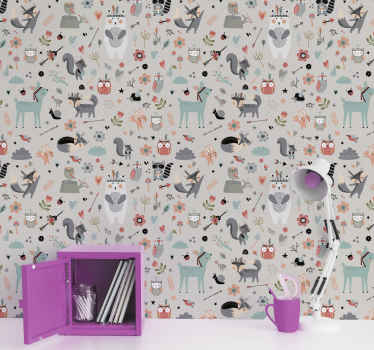 This forest wallpaper design features a nordic styles forest filled with foxes, trees and other scandinavian things! Scandinavian home delivery!