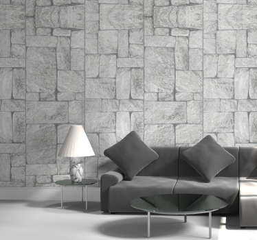 Stone effect grey stone Wallpaper
