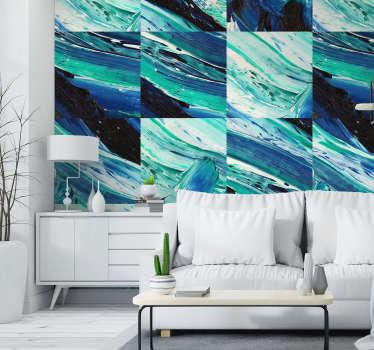 Papel pintado para comedor texturizada tonos azules